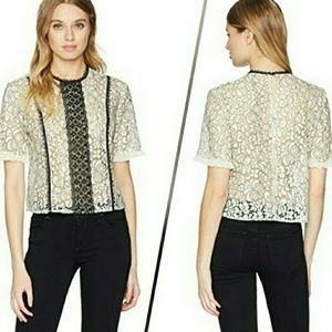 Nanette Lepore lace top blouse short sleeves